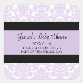 Pegatinas violetas del favor de la fiesta de pegatinas cuadradases personalizadas