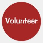 Pegatinas voluntarios - blanco en rojo