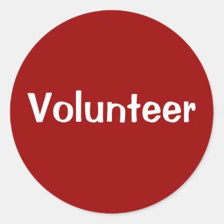 Pegatinas voluntarios - blanco en rojo pegatina redonda