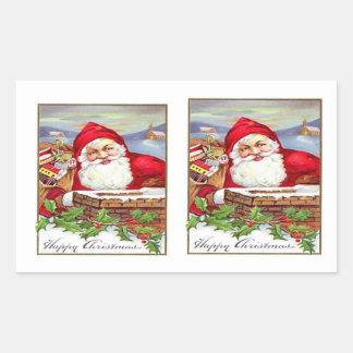 Pegatinas W/Santa de Santa del vintage por una Rectangular Altavoces