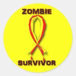 Pegatinas y botones del superviviente del zombi pegatina redonda
