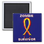 Pegatinas y botones del superviviente del zombi imán