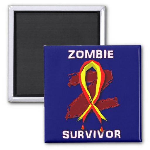 Pegatinas y botones del superviviente del zombi imanes de nevera
