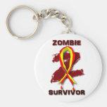 Pegatinas y botones del superviviente del zombi llavero
