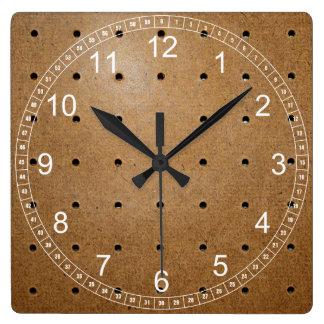 Pegboard Square Wall Clock