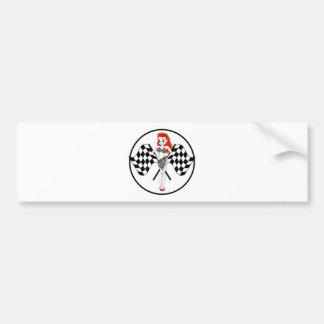 Peggy Pitstop Race Flags Car Bumper Sticker