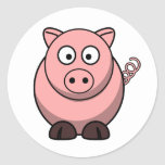 Peggy the Portly Pink Pig Classic Round Sticker