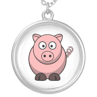 Peggy the Portly Pink Pig Round Pendant Necklace