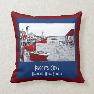 Beach Themed Peggys Cove, fishing boats on rust/blue Throw Pillow
