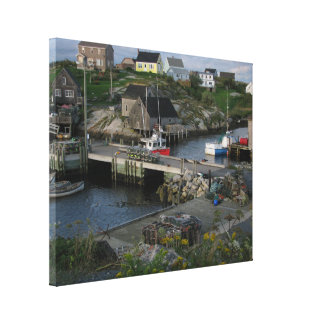 Peggy's cove fishing village canvas