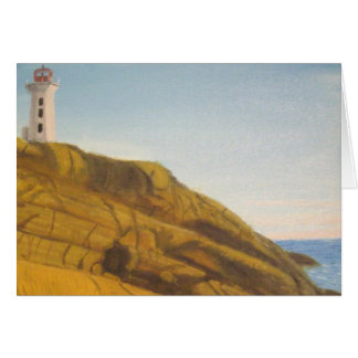 Peggy's Cove Lighthouse at Sunset Greeting Card