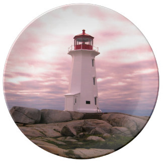 """""""Peggy's Cove"""""""" Lighthouse """"Lighthouse Route"""" pink Plate"""