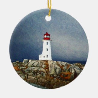 Peggys Cove Lighthouse Painting by Shawna Mac Double-Sided Ceramic Round Christmas Ornament