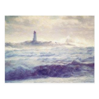 Peggys Cove Lighthouse Storm ~ Shawna Mac Postcard
