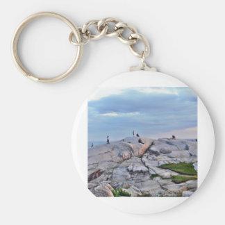 Peggys Cove Rocks Basic Round Button Keychain
