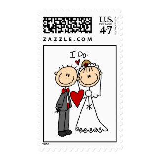 Pego la figura novia y el franqueo del novio sello