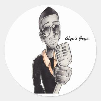 PEGS-3 white view, Alya's Pegs Classic Round Sticker