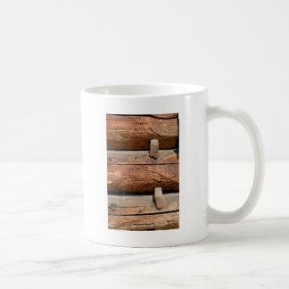 Pegs on a log cabin abstract coffee mug
