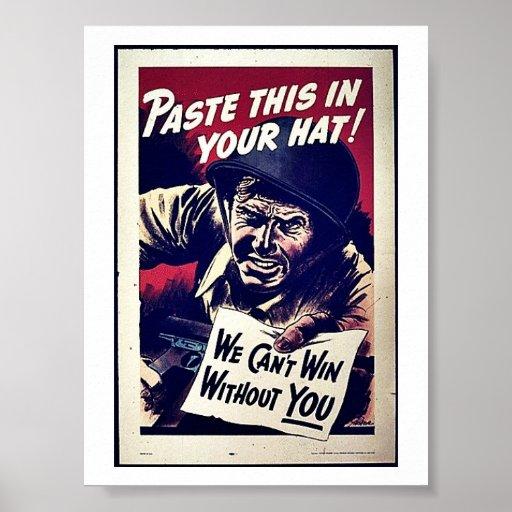 ¡Pegue esto en su gorra! Póster