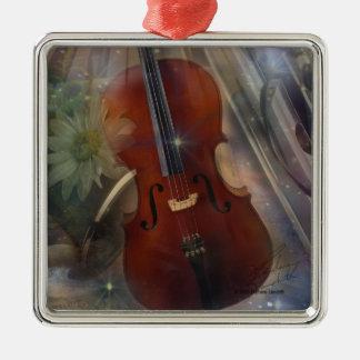 Pegue un acorde con este diseño musical hermoso adorno navideño cuadrado de metal