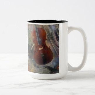 Pegue un acorde con este diseño musical hermoso taza de café de dos colores