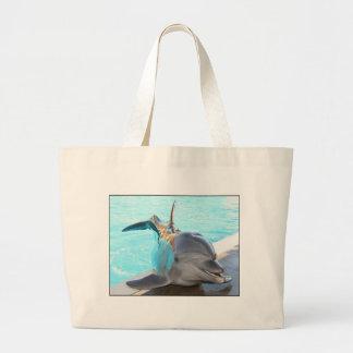 Pegue una actitud (la foto del delfín) bolsa tela grande