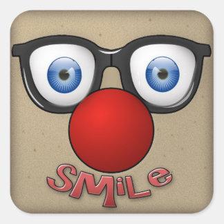 pegue una sonrisa pegatina cuadrada