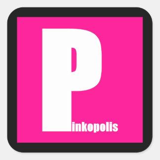 Pegúelo con los cuadrados rosados pegatina cuadrada