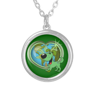 PEGUI Pups Earth Day - Leaf Silver Plated Necklace