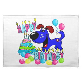PEGUI Pups Happy Birthday - Blue Cloth Placemat