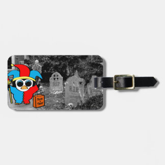 Peguin in Jester Costume Trick or Treat Luggage Tag