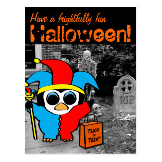 Peguin in Jester Costume Trick or Treat Post Cards