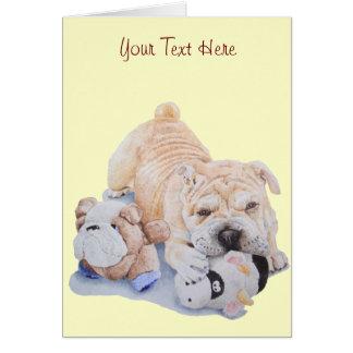Pei shar del perrito lindo con arte de los osos de tarjeta de felicitación