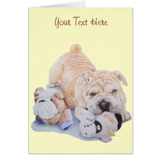 Pei shar del perrito lindo con arte del retrato de tarjeta pequeña