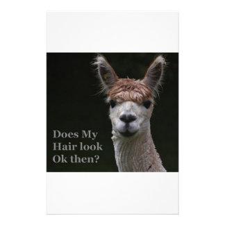 Peinado divertido de la alpaca papelería