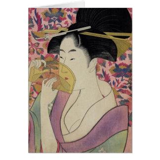 Peine de Kushi por Kitagawa Utamaro Tarjetón