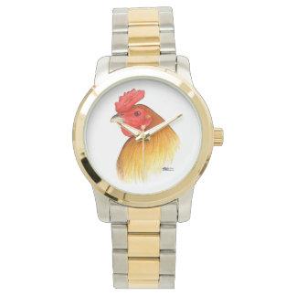 Peine del guisante del macho del gallo de pelea reloj de mano