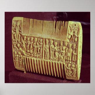 Peine litúrgico, escuela de St Albans, c.1120 Posters