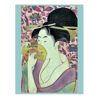 Peine por Kitagawa, Utamaro Ukiyoe Postal