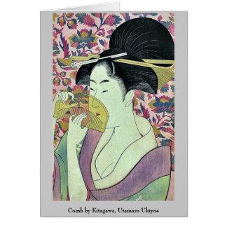 Peine por Kitagawa, Utamaro Ukiyoe Tarjeta Pequeña