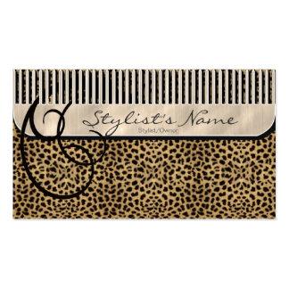 Peine y leopardo de los rizos tarjetas de visita