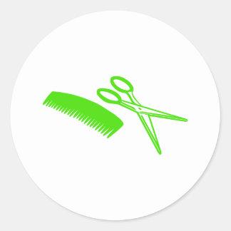 Peine y tijeras - peluquero pegatina redonda