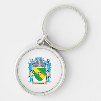 Peirson Coat of Arms - Family Crest Silver-Colored Round Keychain