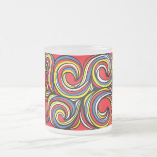 Pekar Abstract Expression Yellow Red Blue 10 Oz Frosted Glass Coffee Mug