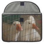 Pekin ducks in cage picture sleeves for MacBooks