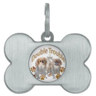 Pekinese Double Trouble Pet ID Tag