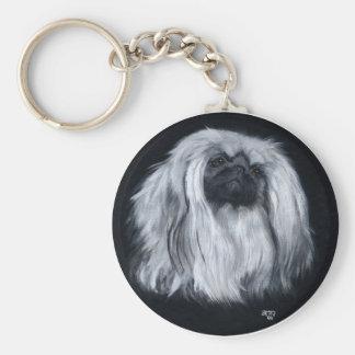 Pekingese Black & White Keychain