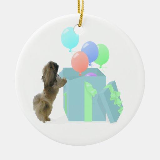 Pekingese Celebration Balloons Christmas Ornaments