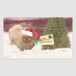 Pekingese Christmas Rectangular Sticker