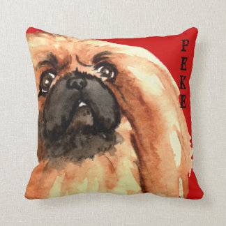 Pekingese Color Block Throw Pillow